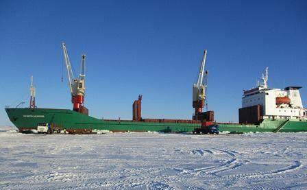 Andrey Osipov delivered cargo from Arkhangelsk to Yenisei river berthing on ice